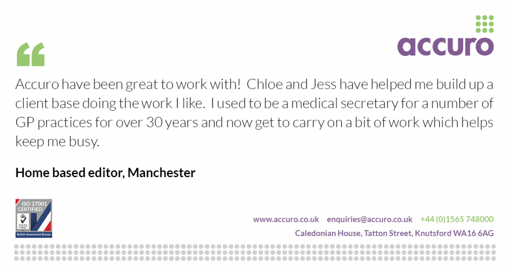 Home based editor/proofreader in Manchester testimonial