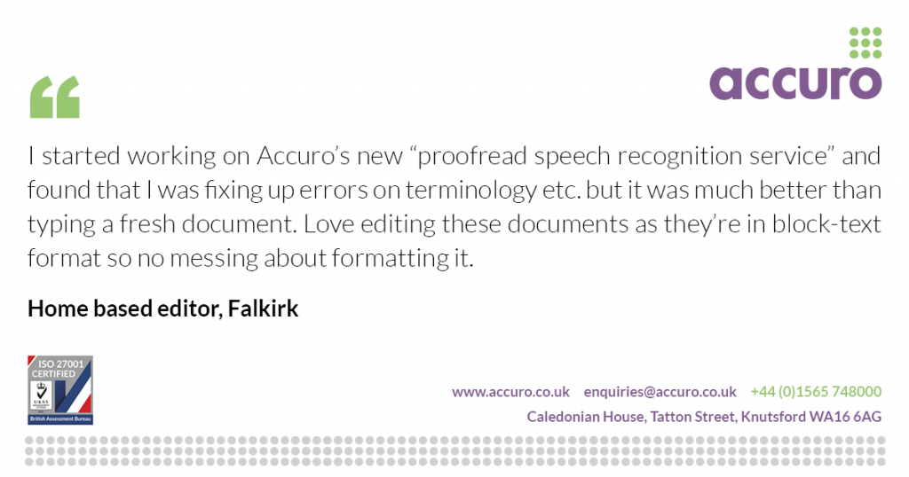 Home editor - proofread speech recognition service - testimonial